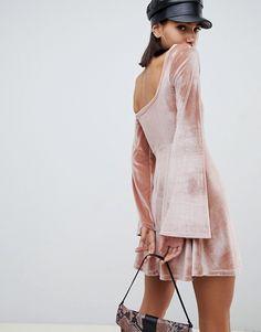 ASOS DESIGN mini velvet skater dress with bust seaming   ASOS
