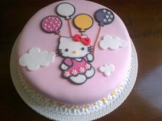 Hello Kitty fondant cake, created by Les Génoises, Genova, Italy Hello Kitty Fondant, Torta Hello Kitty, Hello Kitty Birthday Cake, Pretty Cakes, Cute Cakes, Minnie Mouse Cake, Mickey Mouse, Hello Kitty Themes, 4th Birthday Cakes