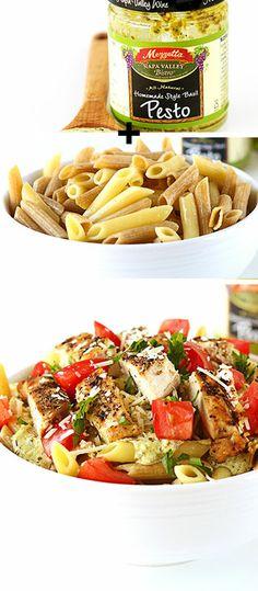 Creamy Pesto Chicken Penne Pasta - Quick & Healthy Dinner Recipes - Click for Recipe