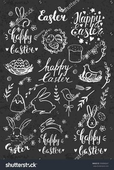Modern calligraphy hand drawn chalk inscription happy easter and elements eggs bunny cake willow handwritten brush lettering with rough edges chalkboard watercolor artwork for spring and easter Easter Puzzles, Easter Activities For Kids, Chalkboard Doodles, Chalkboard Signs, Easter Drawings, Visual Thinking, Easter Parade, Coloring Easter Eggs, Pencil And Paper