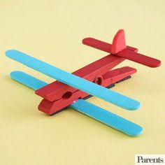 Add to your fridge's growing collection of homemade art by constructing this magnetic airplane clip. Use it to show off your child's latest artistic endeavors. Make It: Paint one spring-style clothespin, two craft sticks, and one mini craft stick in your child's favorite colors. Once dry, glue a craft stick on top and bottom of the clothespin as wings, and the mini craft stick as the tail. Cut a triangle from crafts foam and glue it upright atop the mini craft stick. Once dry,...