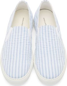 Comme des Garcons Shirt Blue Striped & Quilted Slip On Shoes