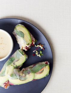 these spring rolls with a tahini dipping sauce are so so good, via @goop