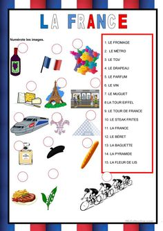 Free ESL, EFL printable worksheets and handouts Core French, French Class, French Lessons, French Teaching Resources, Teaching French, Pays Francophone, French Symbols, French Greetings, Weather In France