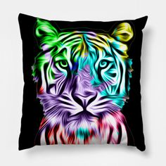 """Grab this awesome """"Colorful Tiger Head"""" design now, and show it off to your family and friends. Tiger Art, Tiger Head, Big Cats, Wildlife, Colorful, Throw Pillows, Friends, Awesome, Animals"""