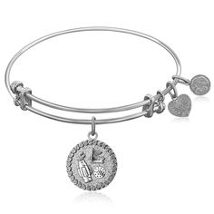 Expandable Bangle in White Tone Brass with Golf Symbol