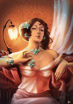 "Illustration ""parure de reine"" #bijou #illustration #mucha #artnouveau #jewel #pendant"