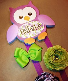 HAIR BOW HOLDER - Personalized Purple Owl HairBow Holder - Bows and Clippies Organizer - Girls Personal Hair Bow and Clip Owl Holder