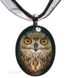 The Fortune Teller glass cabochon necklace by Lisa Parker with artist/'s gift bag