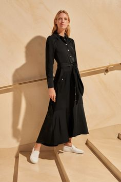 ME+EM's AM-PM Satin Back Crepe Shirt Dress is this season's update to our best-selling maxi dress style in classic black. Jumpsuit Dress, Shirt Dress, Cargo Shirts, Frill Skirts, Cashmere Throw, Contemporary Dresses, Checked Blazer, Dress Shirts For Women, Layered Tops