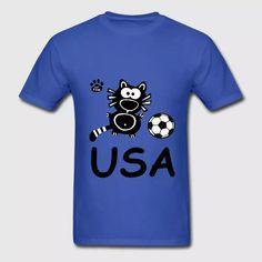 USA Katze Catpaw Ball Cats Soccer T-Shirt Fun - Men's T-Shirt