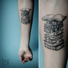 Books stack tattoo by irene bogachuk #IB_TATTOOING