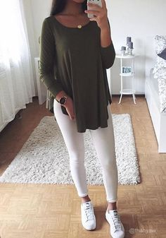Army Green Loose-Fit Tee
