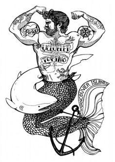 bearded merman tattoos - Google Search