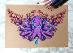 Octopus and Cherry Blossoms - Commission by dannii-jo.deviantart.com on @DeviantArt