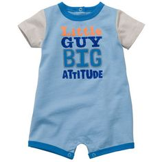 """Little guy, big attitude"" Romper #oshkoshbgosh @Christina Garcia"