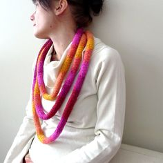 skinny stuffed infinity rope scarf cowl  ombre red pink by Joik, €45.00