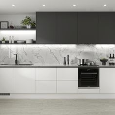 Greenwich Super Matt White Kitchen and Greenwich Super Matt Graphite Kitchen - Create a modern kitchen with our linear kitchen designs. Choose grey kitchen cabinets and white kit - Kitchen Room Design, Design Room, Kitchen Cabinet Design, Home Decor Kitchen, Interior Design Kitchen, Home Kitchens, Modern Kitchens, Country Kitchen, Modern Kitchen Interiors