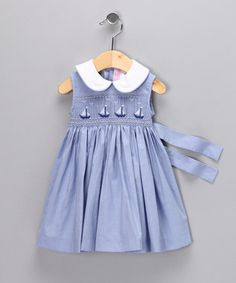 Smocked, sleeveless yoke dress; love the sash--so summery with sailboats