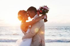 Clearwater Beach, Waterfront Sunset Bride and Groom Wedding Portrait | Clearwater Beach Wedding Photographer Limelight Photography