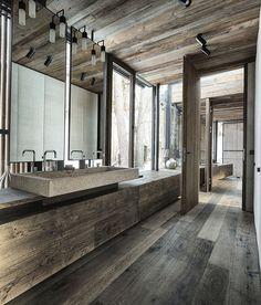 Modern Rustic Bathroom in Austrian Alps - Haus Walde by Gogl Architekten