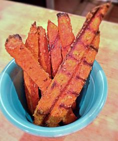 Sweet Potato Fries // She Cooks, He Cleans *Includes soaking cut fries for 2 hours before cooking to get them crispier