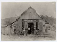 """PIke County, OH --- Photo description reads: This store existed in the 90s on the Jasper to Idaho road. The man in the center without coat & with suspenders is Earl D Parker Mick who in his young manhood, later, lost an arm at the shoulder in a saw mill accident. Mr Parker was for several years Prosecuting Atty of Pike Co, & is considered one of the best trap shooters in the State of Ohio, even handicapped as he is, loading and otherwise caring for his own guns & equipment."""""""
