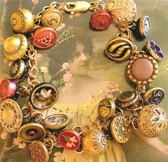 1800s antique Victorian button charm bracelet, jewelry, jewellery by AlliesAdornments, via Flickr