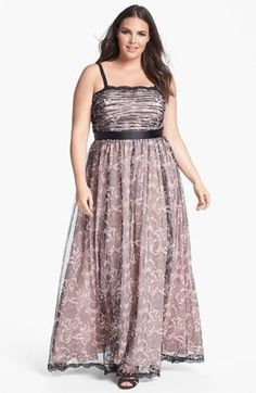 NWT! ADRIANNA PAPELL Black Lace Print Tulle Mesh Empire Waist Gown Dress 18 W #AdriannaPapell #EmpireWaist #Formal