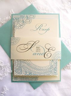 Mehndi Layered Wedding Invitations in Ivory & Aqua by citlali, $3.50