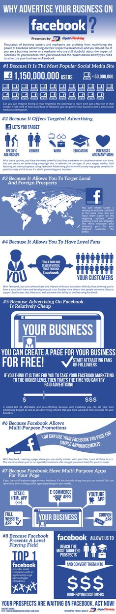 Why Advertise Your Business On Facebook? Thousands of #business owners and #marketers are profiting from maximizing the power of #Facebook Advertising on their respective businesses and you should too. If you are a business owner or a marketer who are still doubtful about the impact of Facebook for your business, then you should read the reasons below on why you need to advertise your business on Facebook. #infographic @boribedi