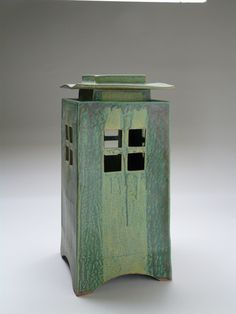 Untitled lantern, c. made in San Francisco, California; glazed ceramic Collection of Bill Burke, -- by Kent Tool Raku Pottery, Slab Pottery, Ceramic Boxes, Ceramic Clay, Glazed Ceramic, Kintsugi, Japanese Stone Lanterns, Ceramic Lantern, Lanterns