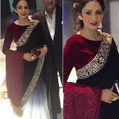 """Gorgeous Sridevi in Maroon velvet saree with shaded georgette pleats To… Indian Attire, Indian Wear, Indian Style, Red Lehenga, Anarkali, Indian Dresses, Indian Outfits, Emo Outfits, Velvet Saree"