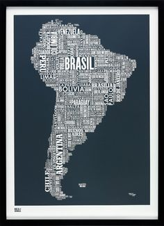South America Type Map - Etsy. This is so cool!