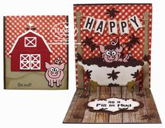 Frances Byrne using the Pop it Ups Barn, Bathtub, Virgil the Pig, Lots of Pops, Hay There and Lorna Label die sets by Karen Burniston for Elizabeth Craft Designs. - Happy as a Pig in Mud