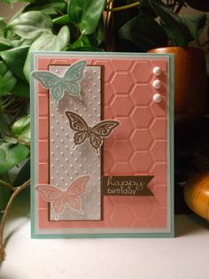 Rachel's Card Corner - Best of Butterflies, Banner Greetings - Blushing Bride, Soft Suede, Pool Party - birthday card