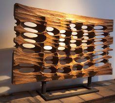 tomonori toyofuku / reflection of waves, carved mahogany on iron stand