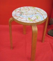 Upcycled stool with Map Seat