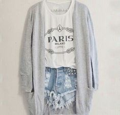 Distressed shorts with cardigan <3