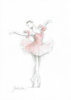 Ballerina Print Art Pink Ballerina Ballerina Painting by EwaGawlik Ballerina Kunst, Ballerina Drawing, Dancer Drawing, Ballet Drawings, Ballerina Painting, Dancing Drawings, Art Drawings, How To Draw Ballerina, Ballerina Pink