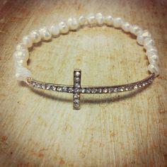 Pearl & Stone Cross Stretch Bracelet.  Www.mira-mia.com