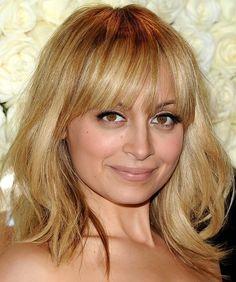 Nicole Richie Medium Wavy Cut with Bangs - Shoulder Length Hairstyles Lookbook - StyleBistro