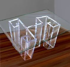 Charming Acrylic Lucite Dining Table Base With Glass By EMBebenArtStudio