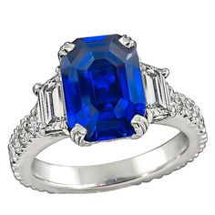 Amazing 5.16 Carat Sapphire Diamond Engagement Ring | From a unique collection of vintage engagement-rings at https://www.1stdibs.com/jewelry/rings/engagement-rings/