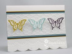 SU Papillon Potpourri, Elegant Butterfly punch, Delicate Designs and Fancy Fan E… Scrapbooking, Scrapbook Cards, Paper Cards, Diy Cards, Make Your Own Card, Punch, Embossed Cards, Quick Cards, Butterfly Cards