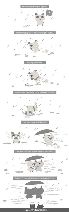 Lazy Sunday - #21 - Raindrop keep falling on my head!   Hi guys, Lazy Sunday is now invading Pinterest! please enjoy our webcomics and smile! :D