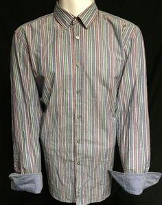 Hugo Boss Blue Pastel Striped XXL Long Sleeve Button Front Shirt 2XL #HugoBoss
