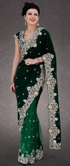 USD 1120.45 Green Velvet  Diamond and Cut Work Wedding Designer Saree 23296