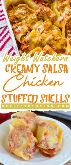 """CREAMY SALSA CHICKEN STUFFED SHELLS-  chicken,WW RECIPES - LOSS MEALS """"No one knows Weight loss meals like we do"""" -  With these recipes, it's now easier """"and healthy tastier"""" than ever before to stay on track with your HEALTHY goals. #lossmeals #weightwatchers #weightwatchersmeals  #ww #wwrecipes #weightwatchers #weightwatchersrecipes #weightwatchersfreestyle #weightwatchersdesserts #weightwatchersfood #wwpoints #weight_watchers #weightwatcherssmartpoints #weightlossrecipes"""