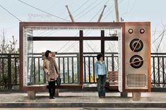 Difference between the North and South Korea. Here a bus stop for Boseong Girl's Middle & High School in South Korea. Urban Furniture, Street Furniture, Bus Stop Design, Retro Bus, Bus Shelters, Sou Fujimoto, Shelter Design, Bus Station, Public Art